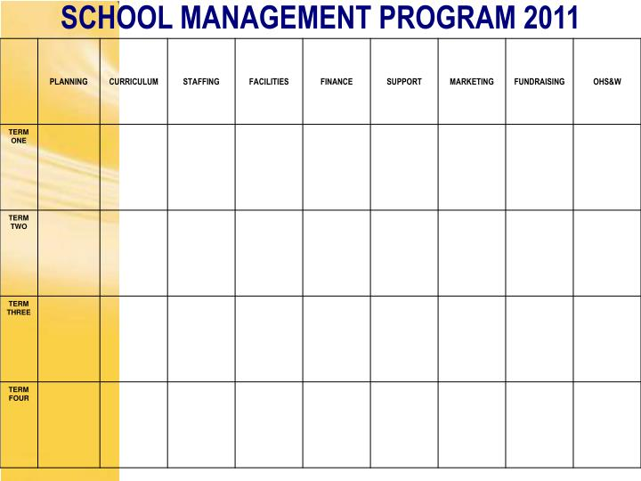 SCHOOL MANAGEMENT PROGRAM 2011