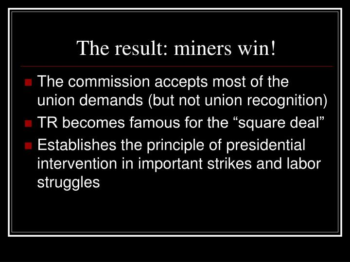 The result: miners win!