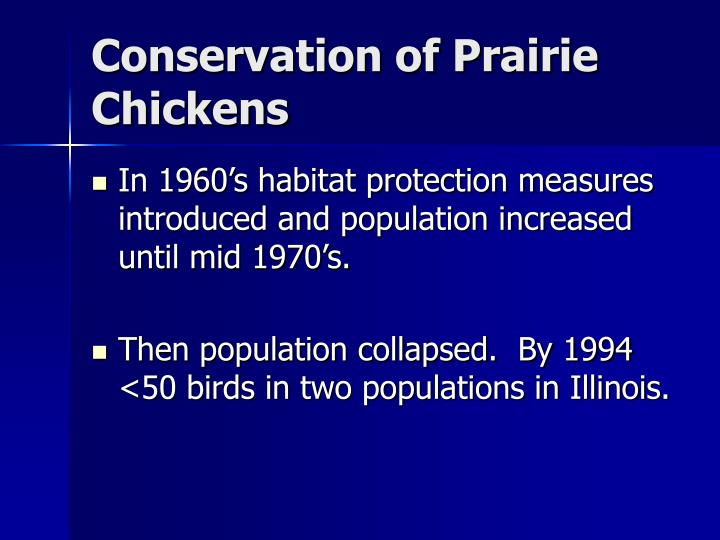 Conservation of Prairie Chickens