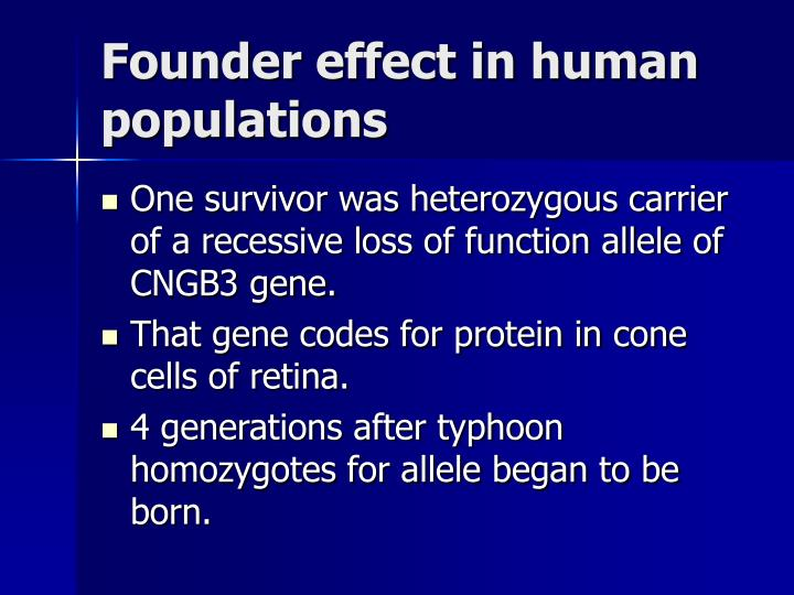 Founder effect in human populations