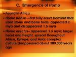c emergence of homo