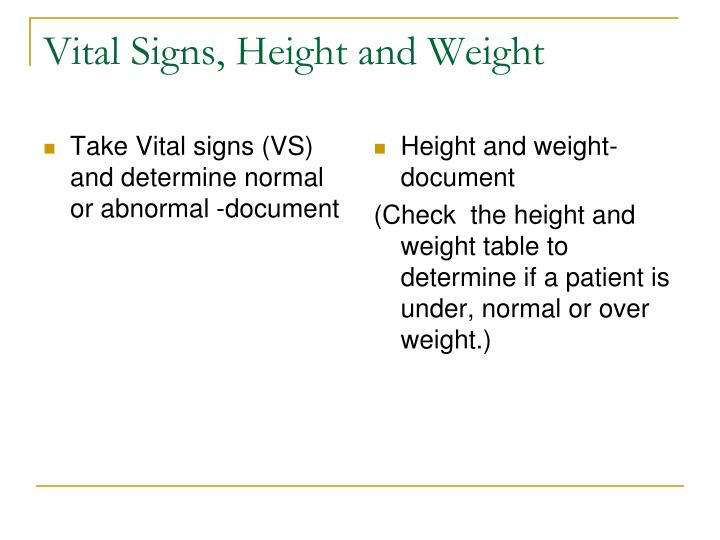Take Vital signs (VS) and determine normal or abnormal -document