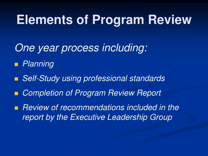 Elements of Program Review