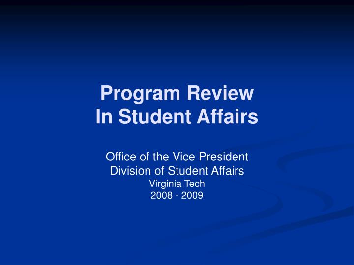 Program review in student affairs