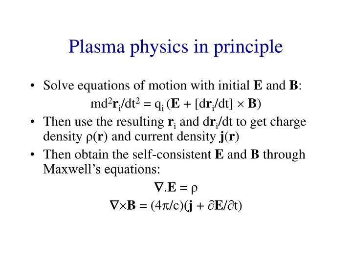Plasma physics in principle