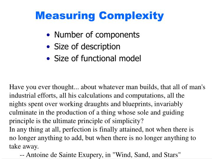 Measuring Complexity