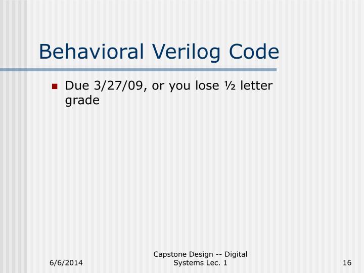 Behavioral Verilog Code