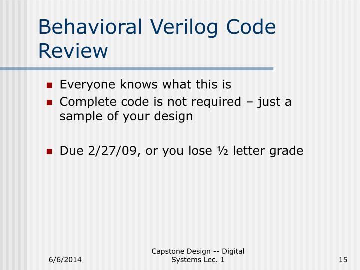 Behavioral Verilog Code Review