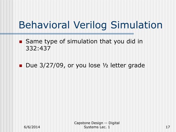 Behavioral Verilog Simulation