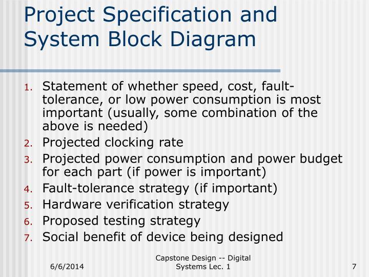 Project Specification and System Block Diagram