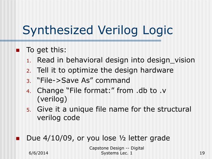 Synthesized Verilog Logic