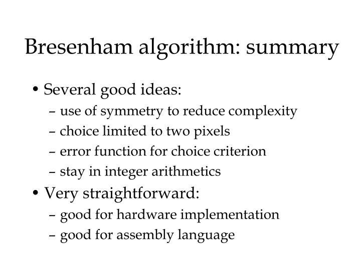 Bresenham algorithm: summary