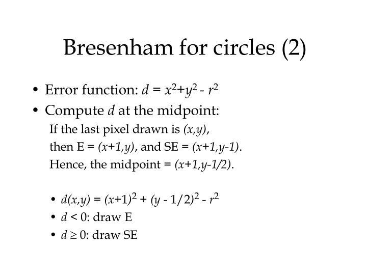 Bresenham for circles (2)