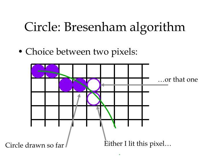 Circle: Bresenham algorithm