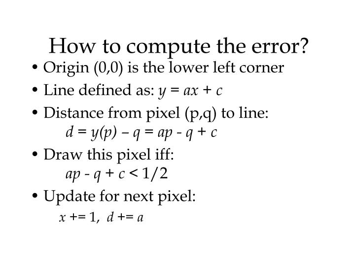 How to compute the error?