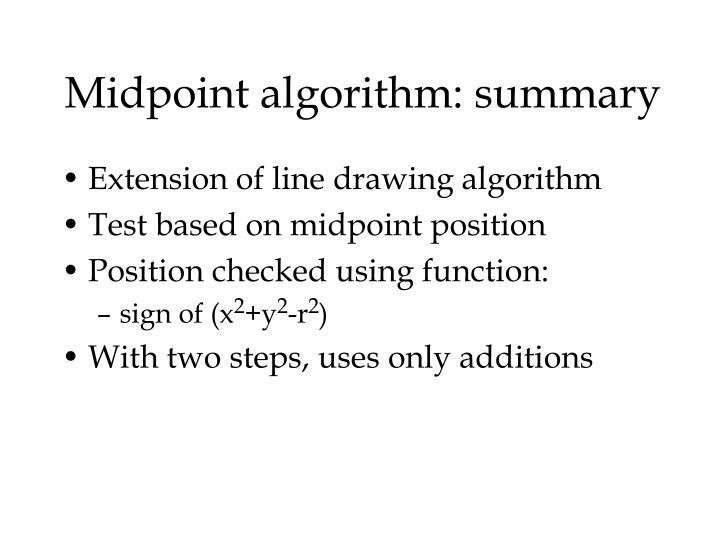 Midpoint algorithm: summary