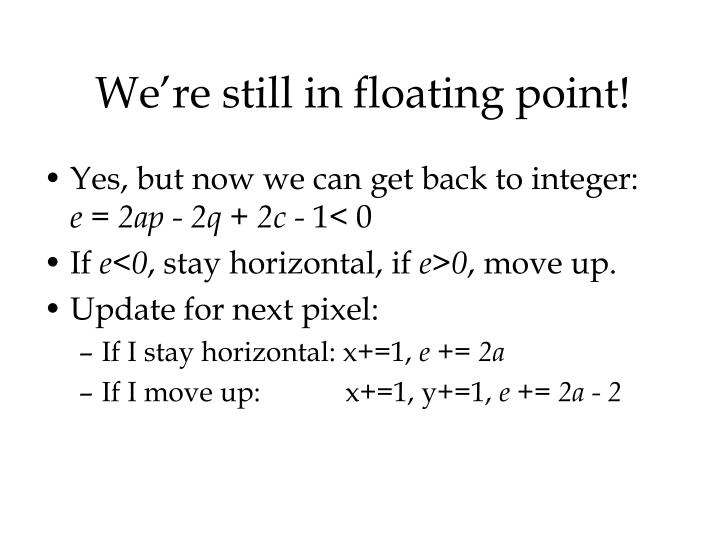We're still in floating point!