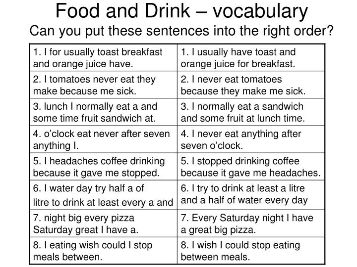 Food and drink vocabulary can you put these sentences into the right order
