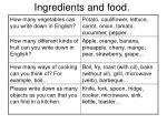 ingredients and food