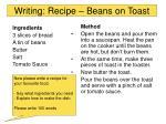 writing recipe beans on toast