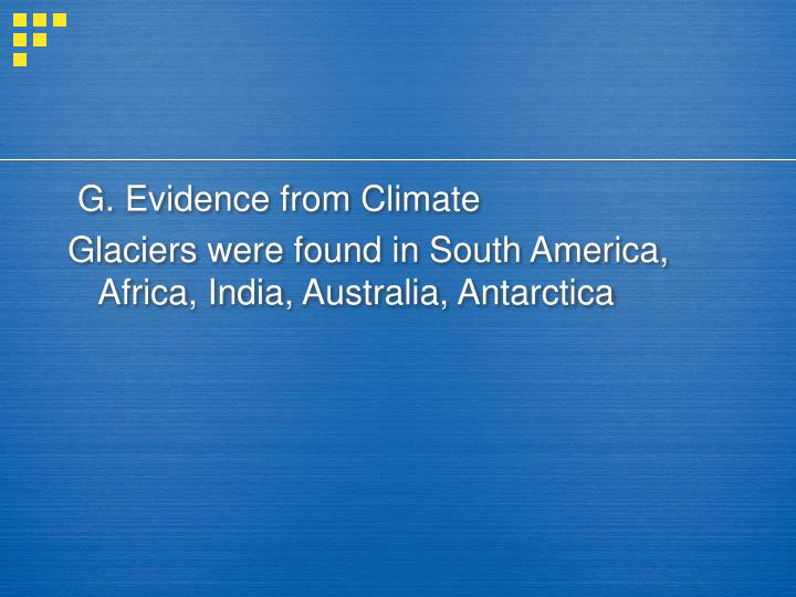 G. Evidence from Climate