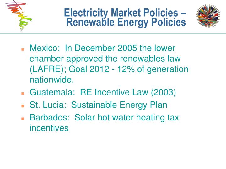 Electricity Market Policies – Renewable Energy Policies