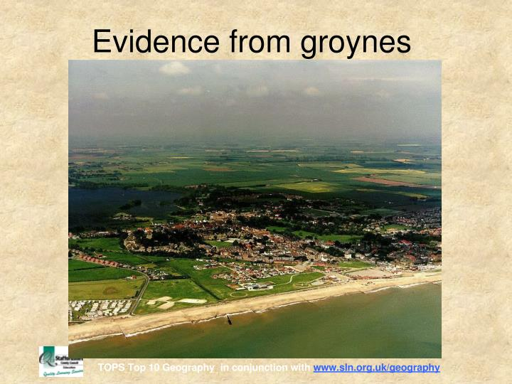 Evidence from groynes