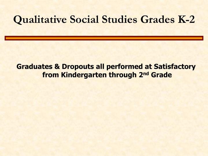 Qualitative Social Studies Grades K-2
