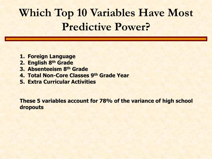 Which Top 10 Variables Have Most Predictive Power?