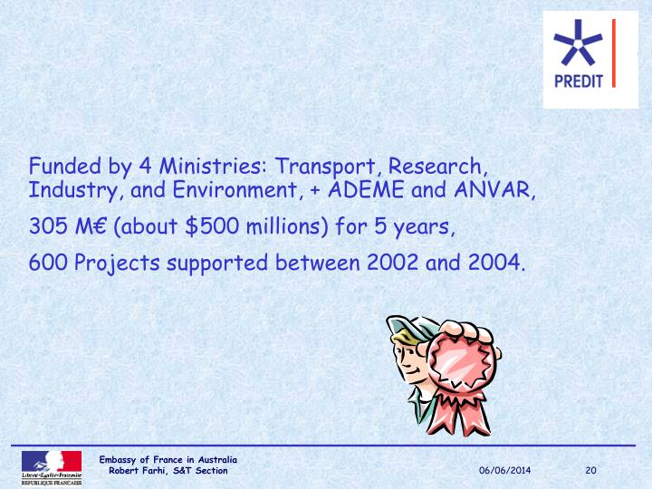 Funded by 4 Ministries: Transport, Research, Industry, and Environment, + ADEME and ANVAR,