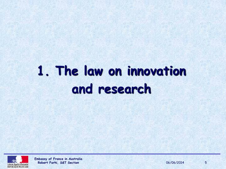 1. The law on innovation