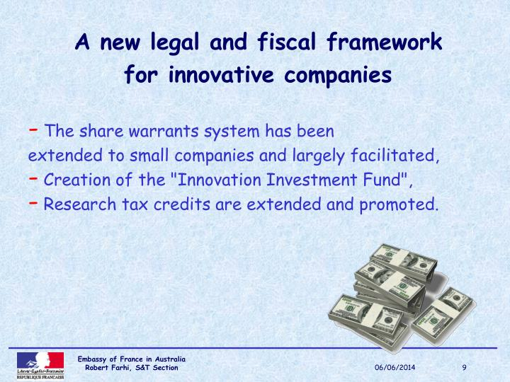 A new legal and fiscal framework