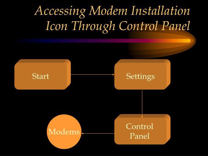 Accessing Modem Installation Icon Through Control Panel