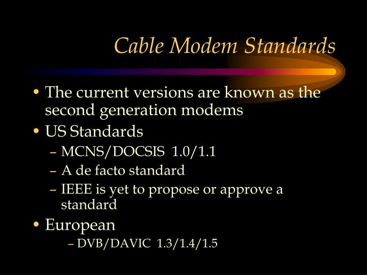 Cable Modem Standards