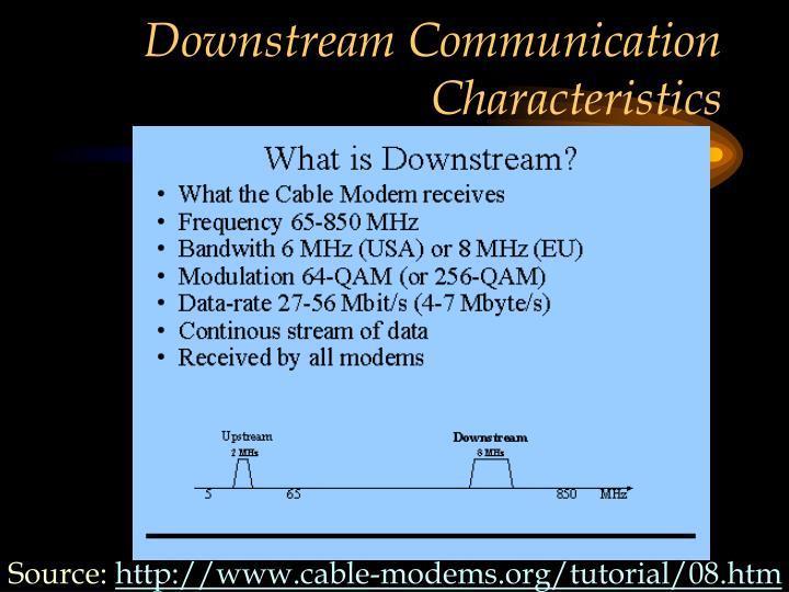 Downstream Communication Characteristics