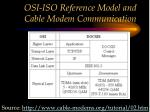 osi iso reference model and cable modem communication