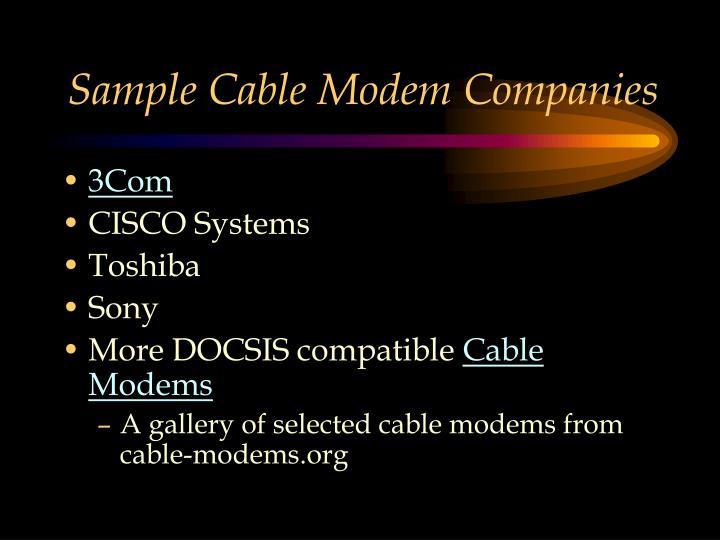 Sample Cable Modem Companies