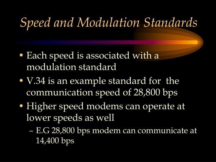 Speed and Modulation Standards
