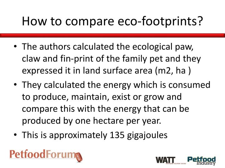 How to compare eco-footprints?