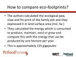 how to compare eco footprints