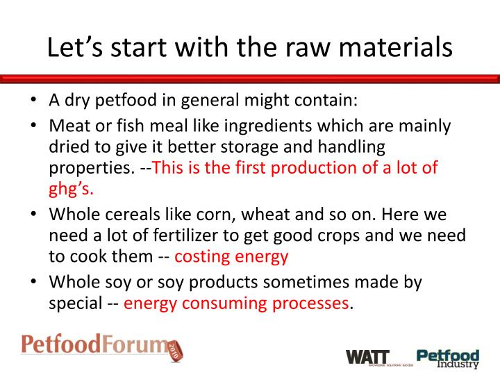 Let's start with the raw materials