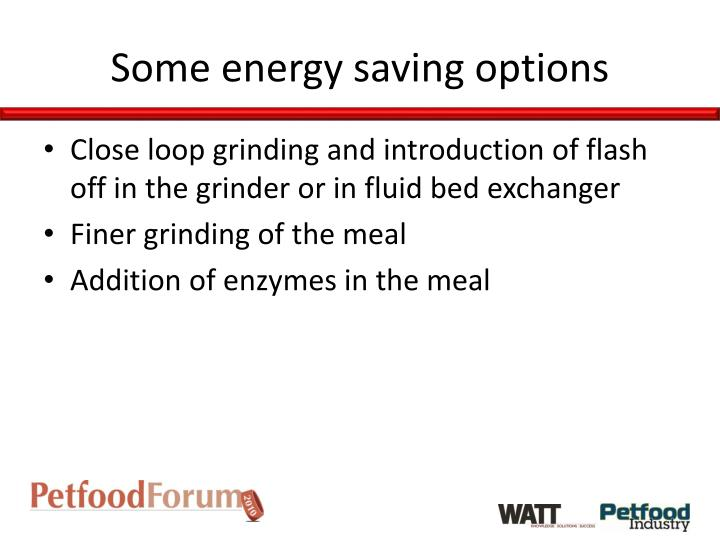 Some energy saving options