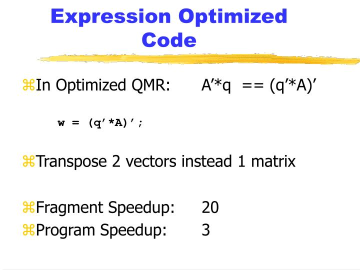Expression Optimized Code