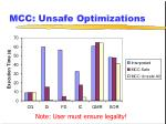 mcc unsafe optimizations