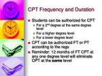 cpt frequency and duration