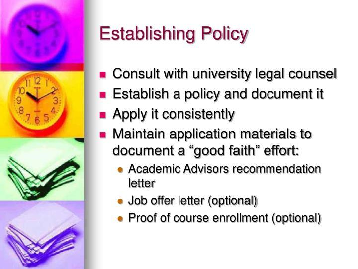 Establishing Policy