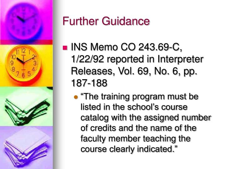 Further Guidance