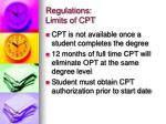 regulations limits of cpt
