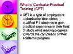 what is curricular practical training cpt