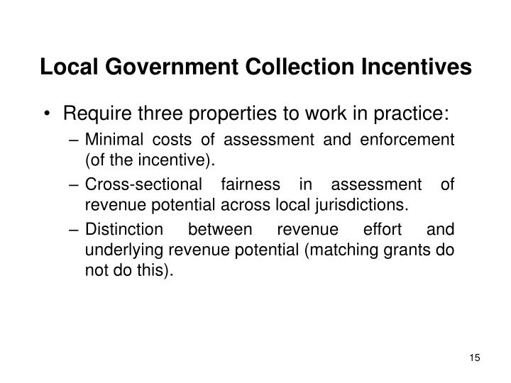 Local Government Collection Incentives